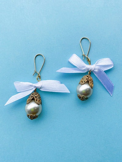 gold pearl hanging earrings ribbon satin bow vintage brass