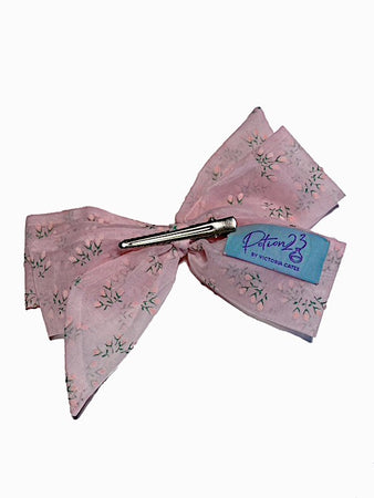pastel baby pink sheer floral patterned retro vintage style hairbow hair bow clip in alligator clip