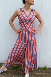 Retro style purple and coral chevron striped 1930s inspired beach pajamas jumpsuit.