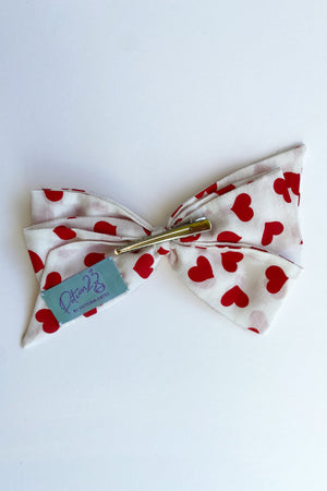 red white heart patterned hair bow hairbow vintage retro style clip in valentines day alligator clip