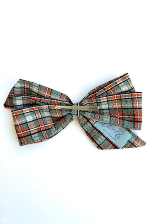 retro style vintage plaid patterned pastel blue orange white hairbow hair bow clip in alligator clip