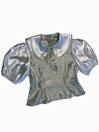 silver 1930s 30s vintage retro style blouse puff sleeves keyhole satin