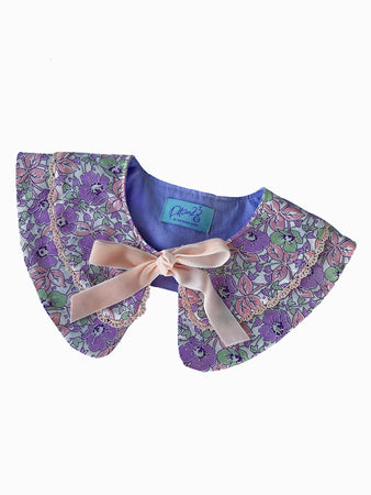 vintage retro style detachable collar tie on ribbon flower floral patterned layered lace ribbon bow purple pink green white
