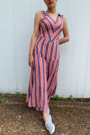 Retro style purple and coral chevron striped 1930s inspired beach pajamas.