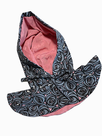 Cute vintage style detachable rose print canvas hood with wide collar.