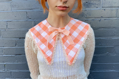 vintage retro style detachable collar tie on ribbon orange gingham plaid peach white pointed patterned layered lace trim ribbon bow