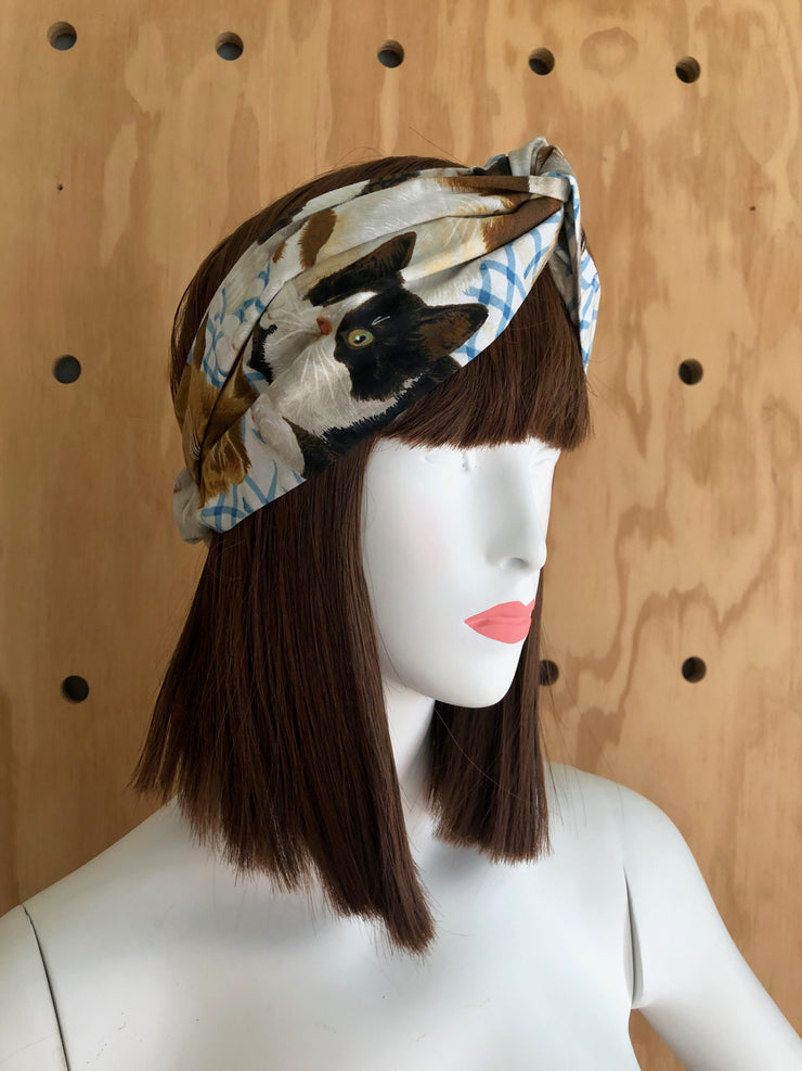 cat patterned vintage retro style twist headband kitten print