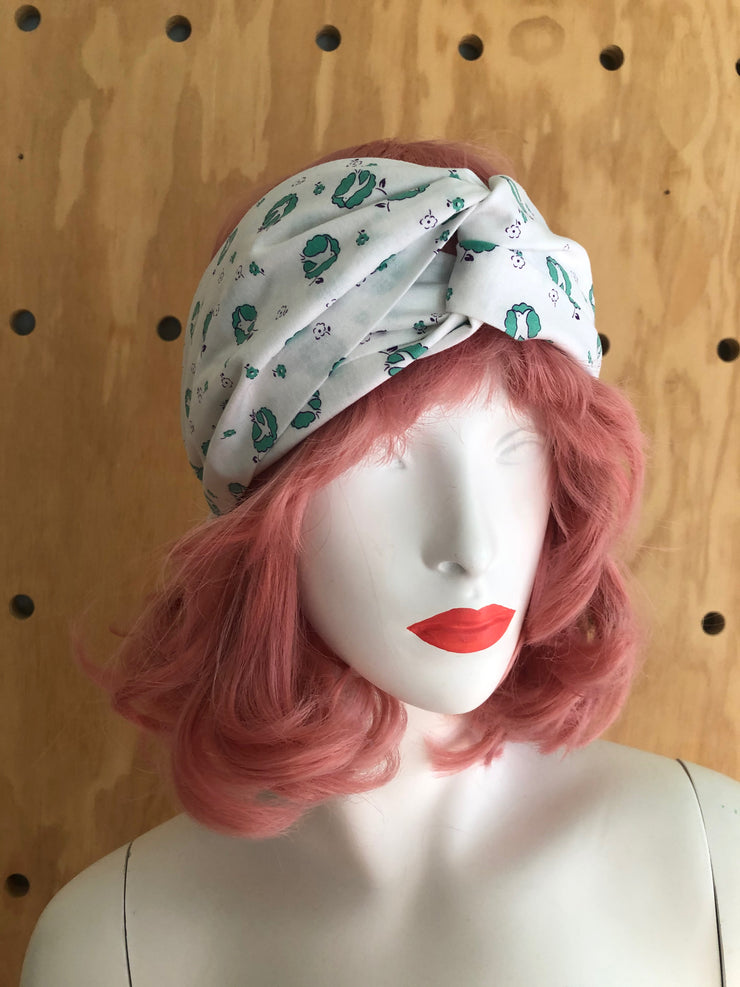 white teal patterned twist headband retro vintage style 1930s 30s swallow bird