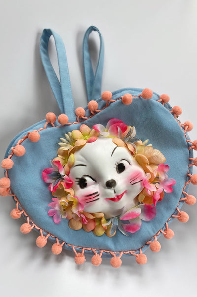 Adorable plastic bunny face with pink flowers heart shaped blue kitsch retro inspired purse.