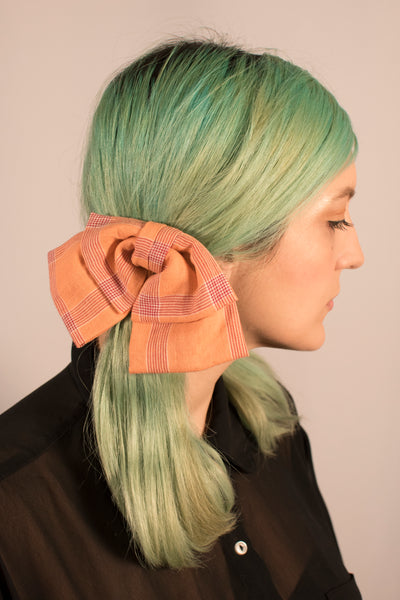 Peach Plaid Bow
