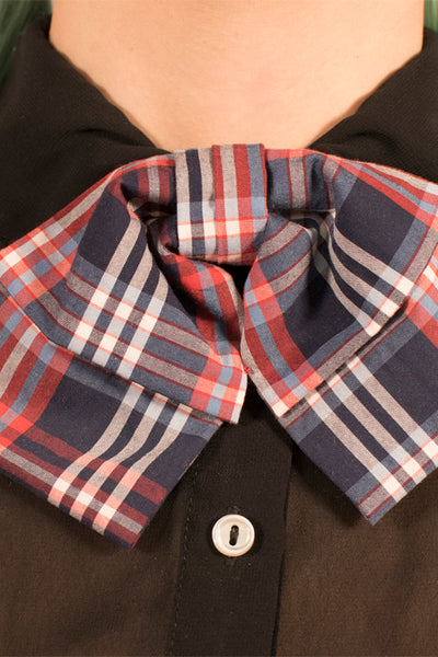 Navy and Red Plaid Bowtie