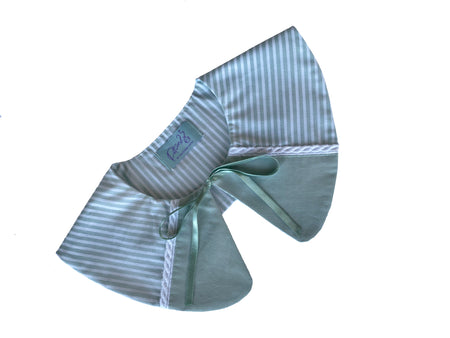 vintage retro style detachable collar tie on ribbon blue teal mint striped white stripes