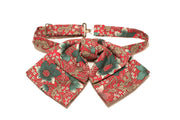 Teal and Red Botanical Bowtie