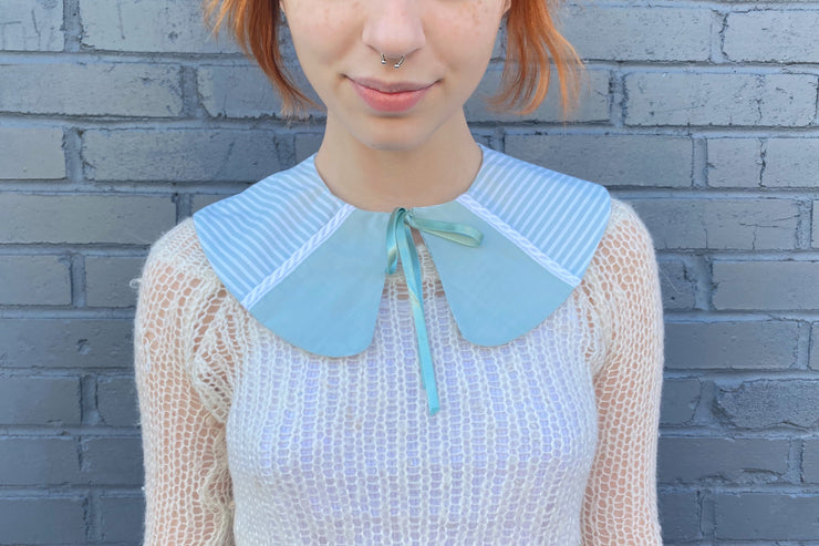 vintage retro style detachable collar tie on ribbon blue teal mint striped