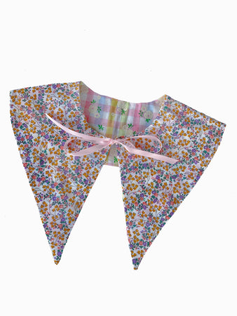 vintage retro style floral patterned rainbow pink gingham plaid tie on detachable reversible collar