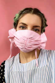 covid scrunch bow tie on fabric face mask pastel light pink ruffle