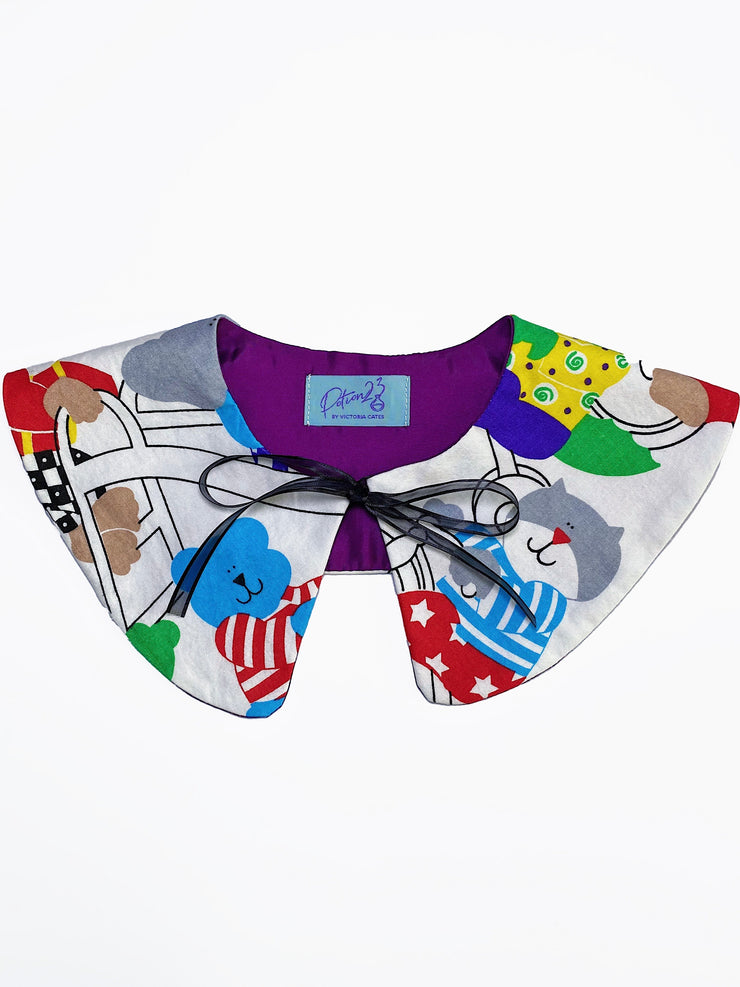 cat monkey duck elephant animal patterned red white tie on collar fake collar ribbon bow rounded collar