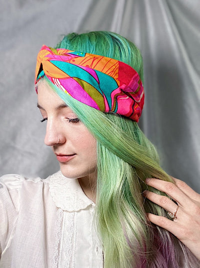 pink orange teal green twist retro style headband