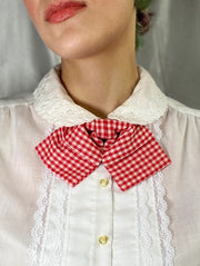red white gingham plaid vintage retro style bow tie bowtie adjustable
