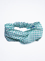 teal blue green polka dot dotted headband vintage retro style turquoise twist