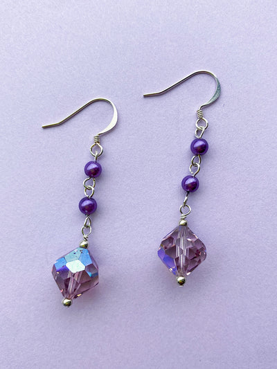 purple crystal drop hanging earrings silver beaded