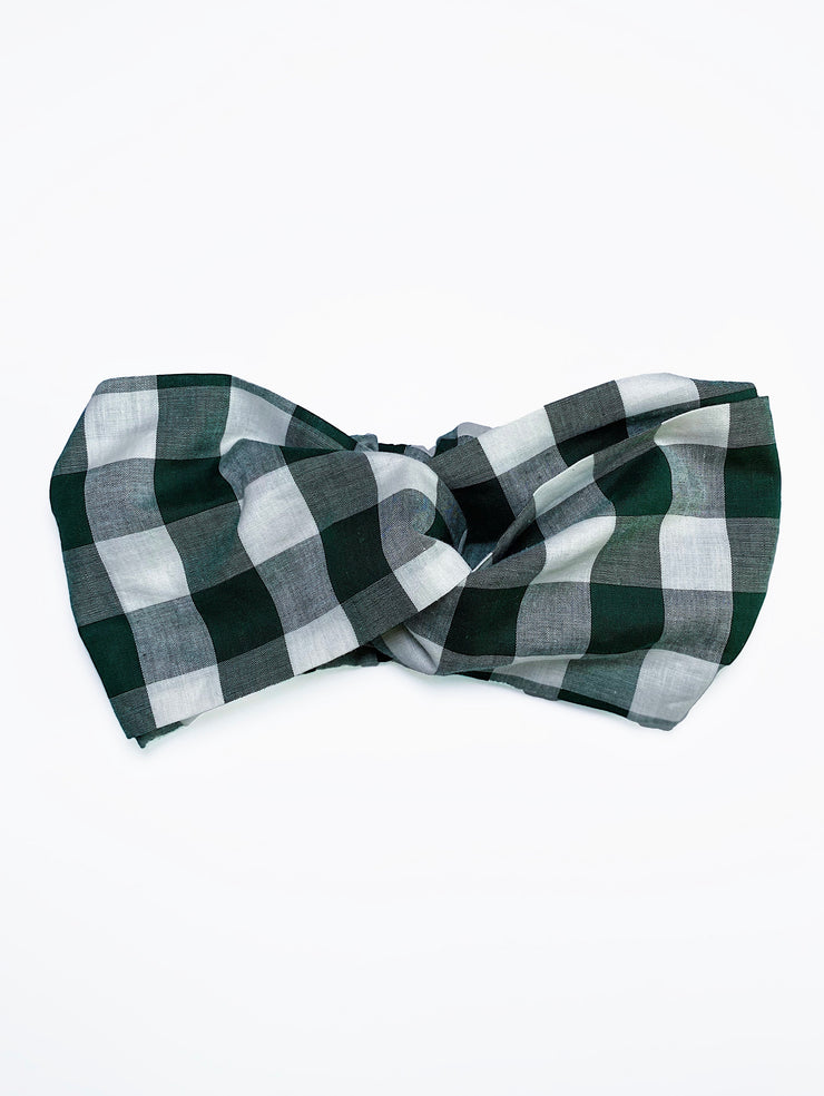 Retro style twist front forest green gingham headband.