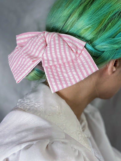 pink white cotton striped hair bow hairbow clip in retro style vintage