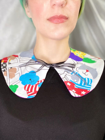 cat monkey duck elephant animal patterned red white tie on collar fake collar ribbon bow rounded collar on model
