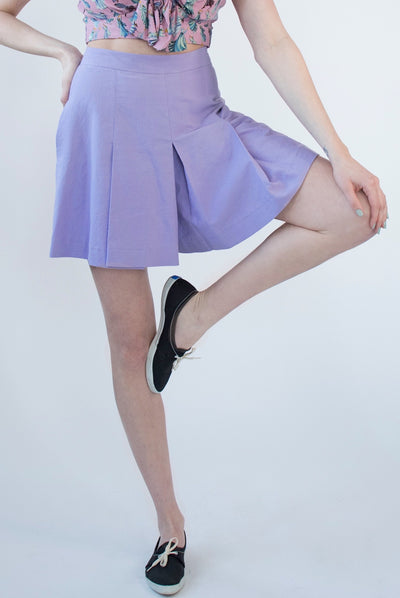 Retro vintage inspired 1940s lavender pleated play shorts skort.