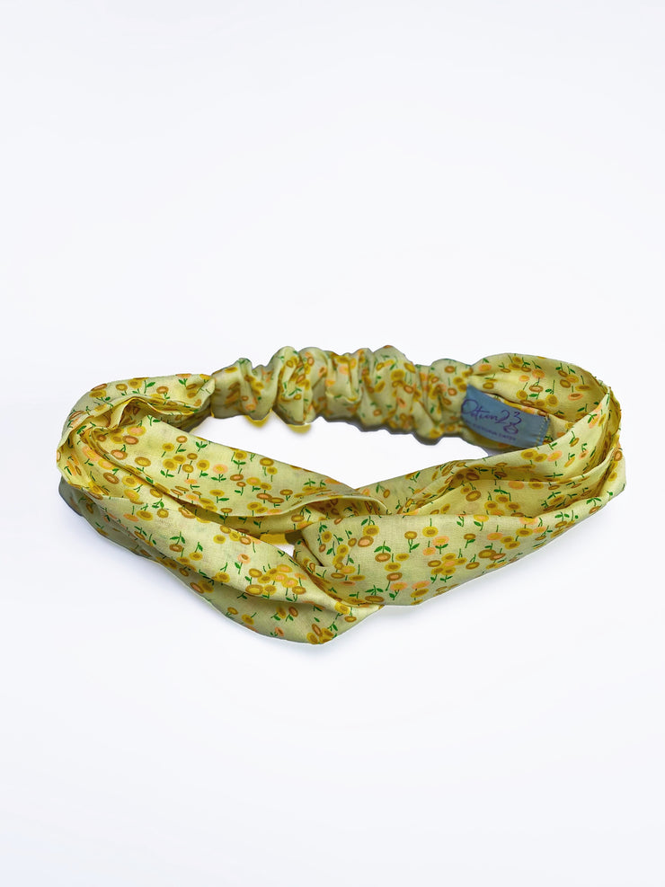 vintage retro style floral pattern print yellow sunflowers twist headband
