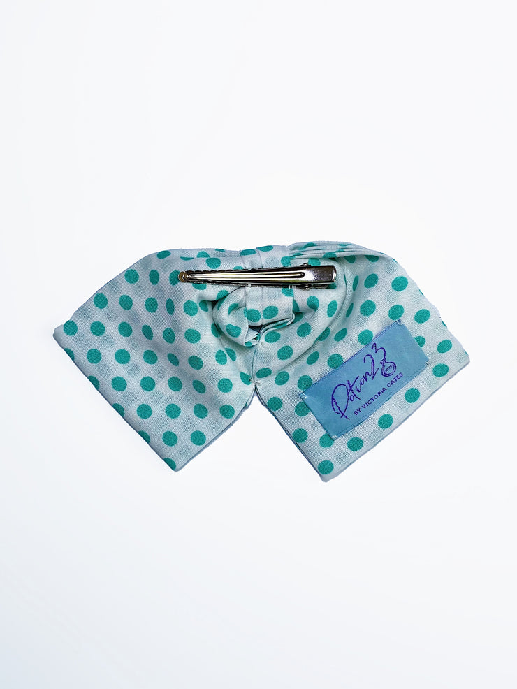 teal blue green polka dot dotted bowtie bow tie vintage retro style turquoise adjustable