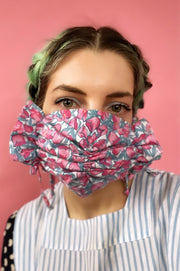 covid scrunch bow tie on fabric face mask floral patterned pattern pink blue tulip ruffle