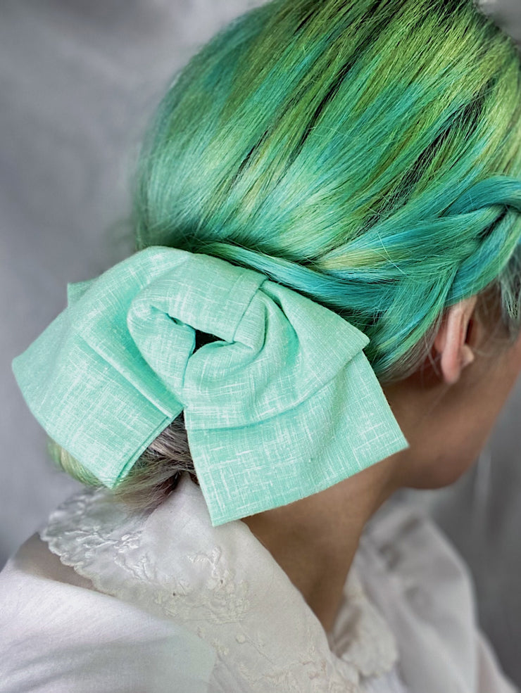 mint green blue teal retro style hair bow hairbow clip in