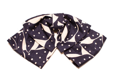 Navy and White Dot Bow