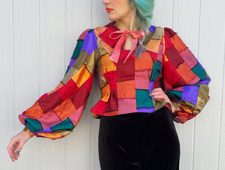 vintage retro style keyhole blouse puff sleeves patchwork silk satin bow rainbow pink green red orange yellow