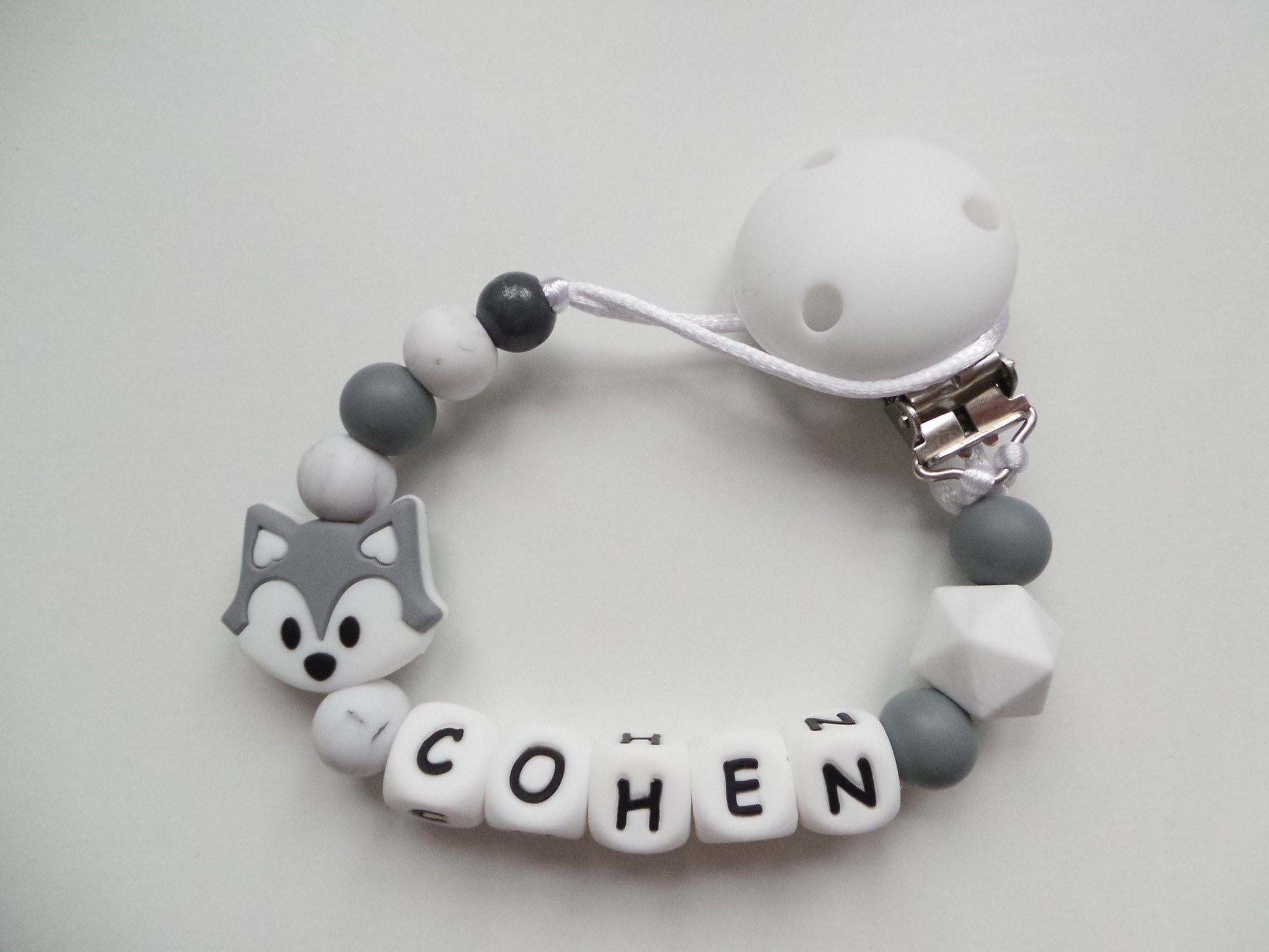 Personalised Fox Dummy Clip Grey Marble Little Ducky