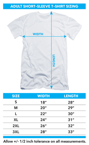 Skull And Goth T-Shirt Size Chart
