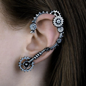 Steampunk Ear Wrap On A Person