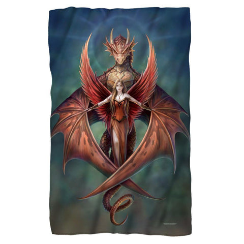 Red Dragon And Fairy Fleece Blanket