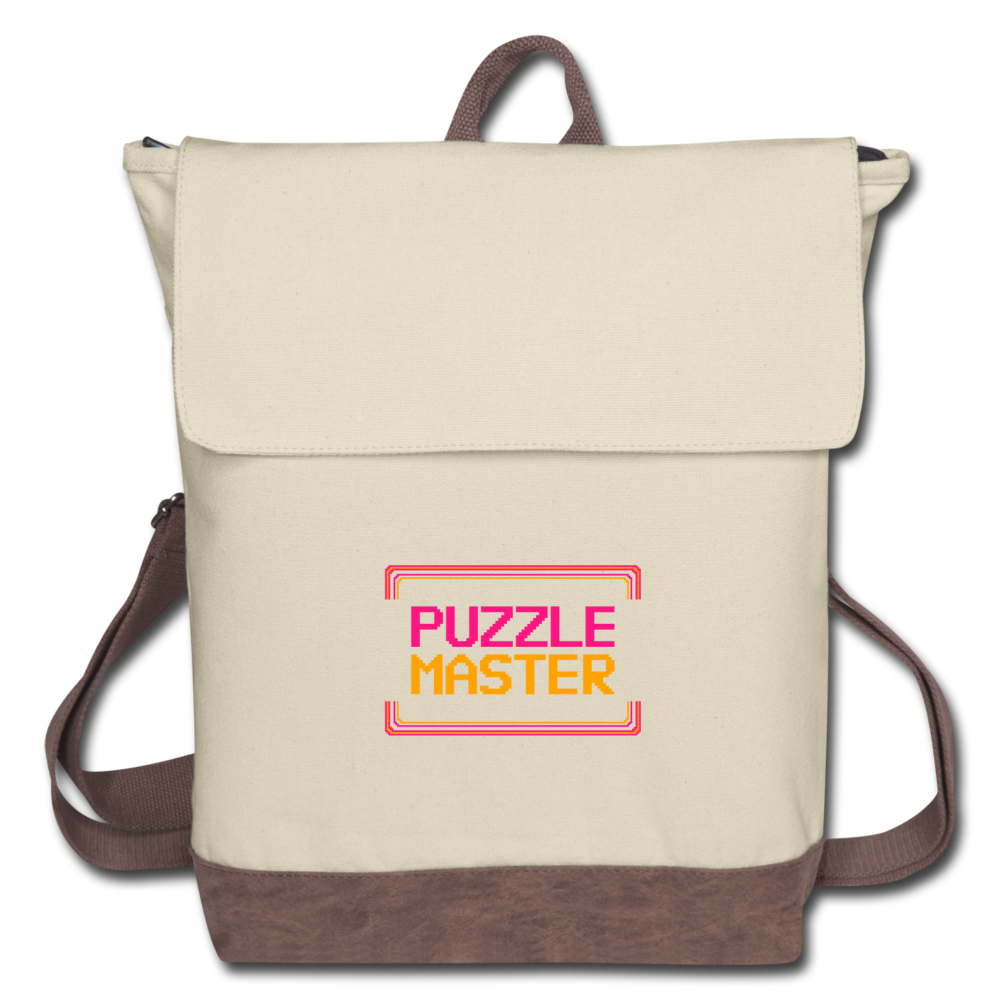 Puzzle Master Canvas Backpack - ivory/brown