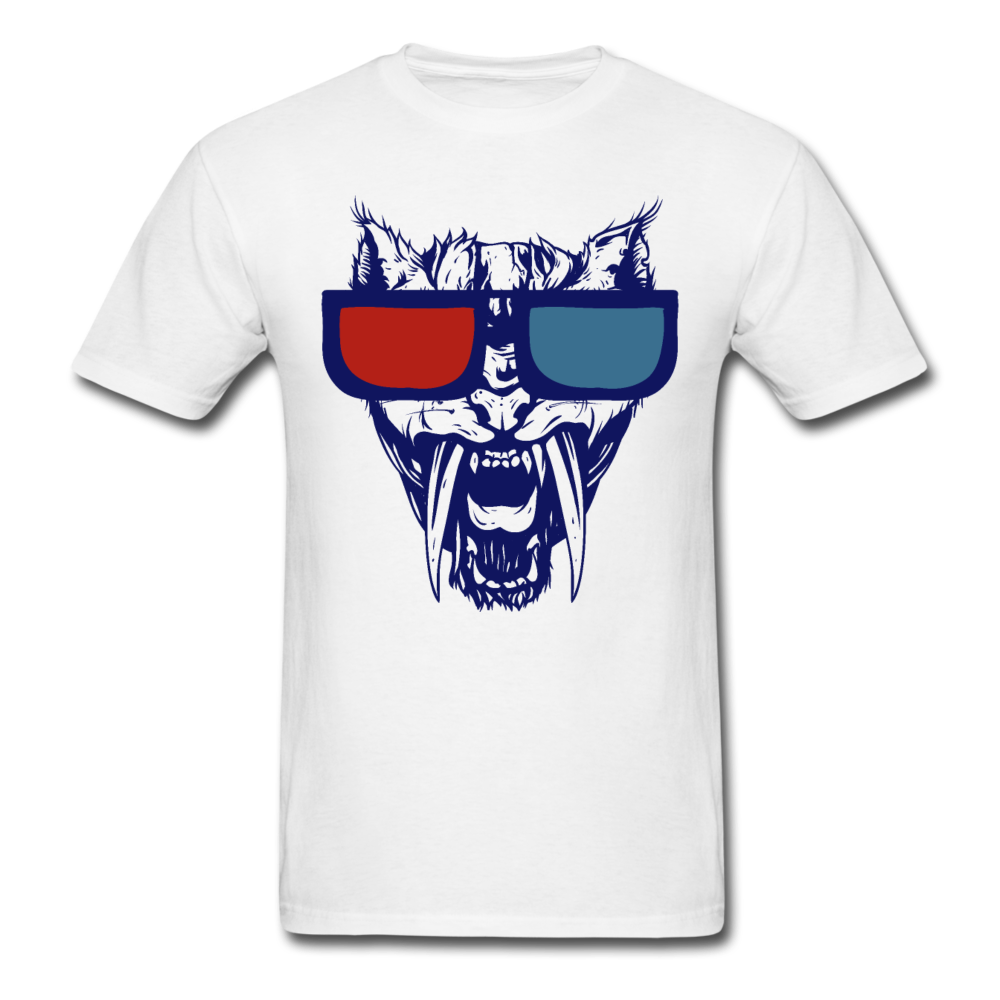 Sabretooth With 3D Glasses  T-Shirt - white