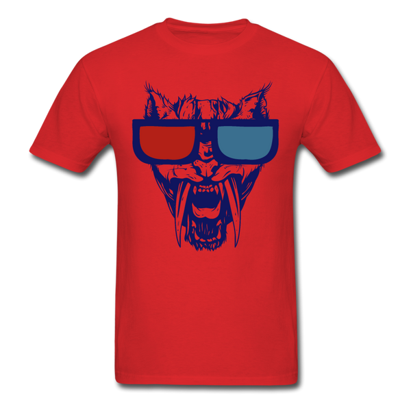 Sabretooth With 3D Glasses  T-Shirt - red