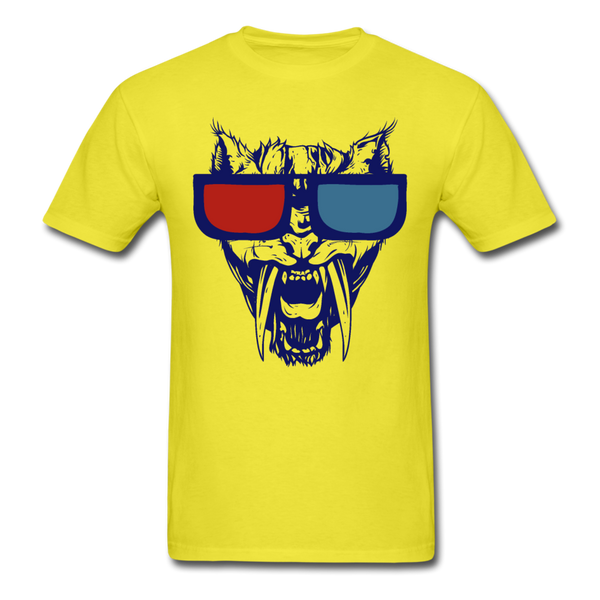 Sabretooth With 3D Glasses  T-Shirt - yellow