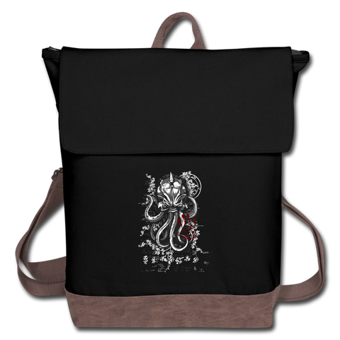 Cthulhu Calls Canvas Backpack - black/brown