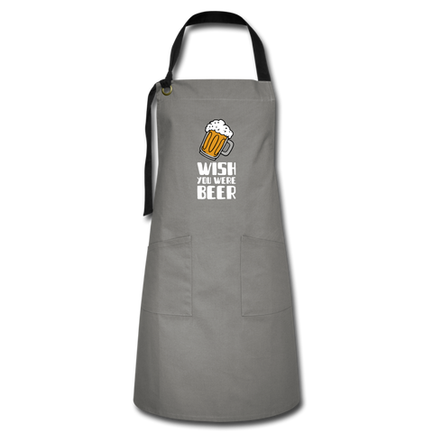Wish You Were Beer Artisan Apron - gray/black