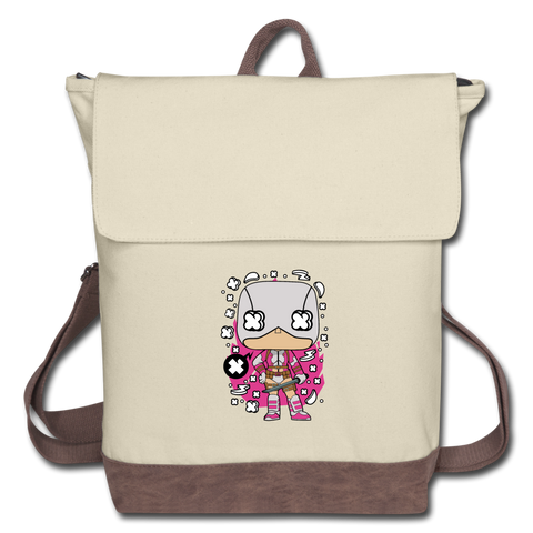 Masked Girl Canvas Backpack - ivory/brown