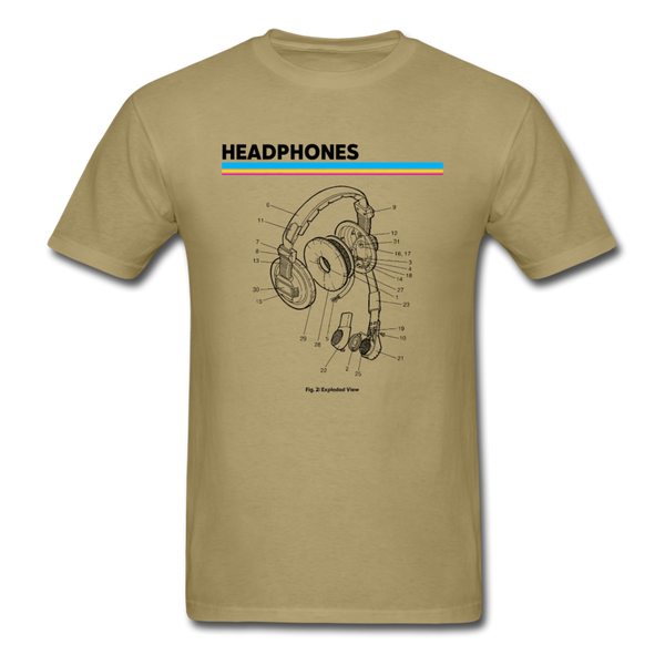 Exploded Headphones T-Shirt - khaki