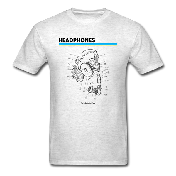 Exploded Headphones T-Shirt - light heather gray