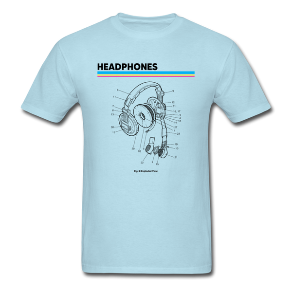 Exploded Headphones T-Shirt - powder blue
