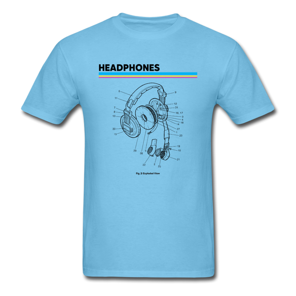 Exploded Headphones T-Shirt - aquatic blue